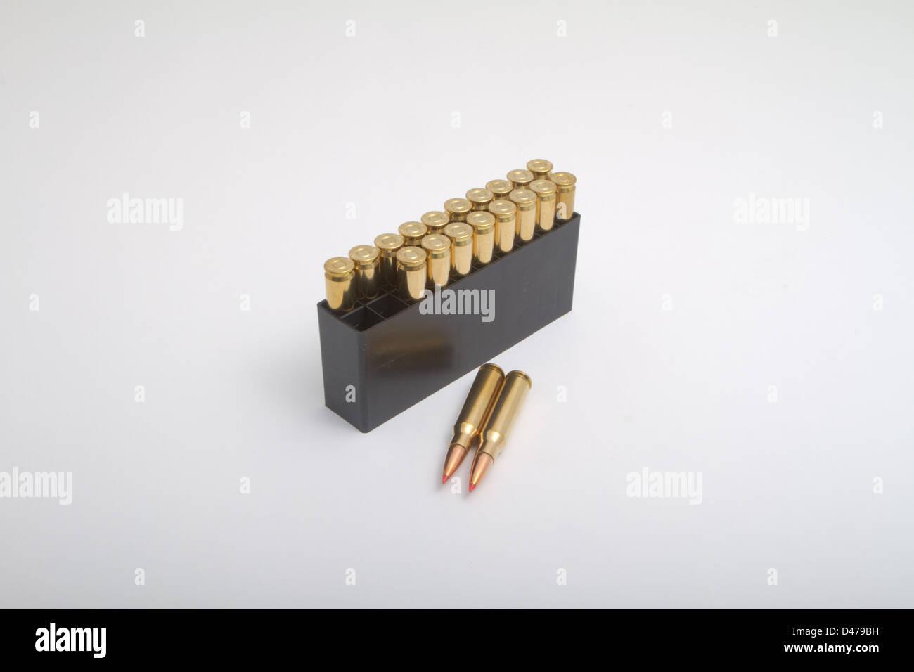 7.62x51mm 308 Ammo .308 / 7.62 NATO - Stock Image