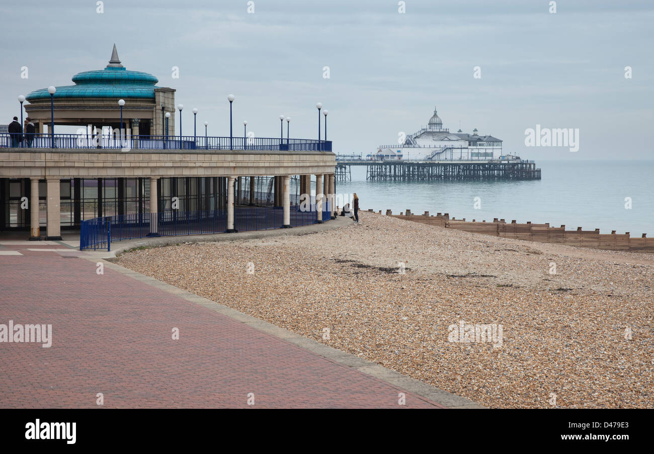 The bandstand and pier at Eastbourne, East Sussex - Stock Image