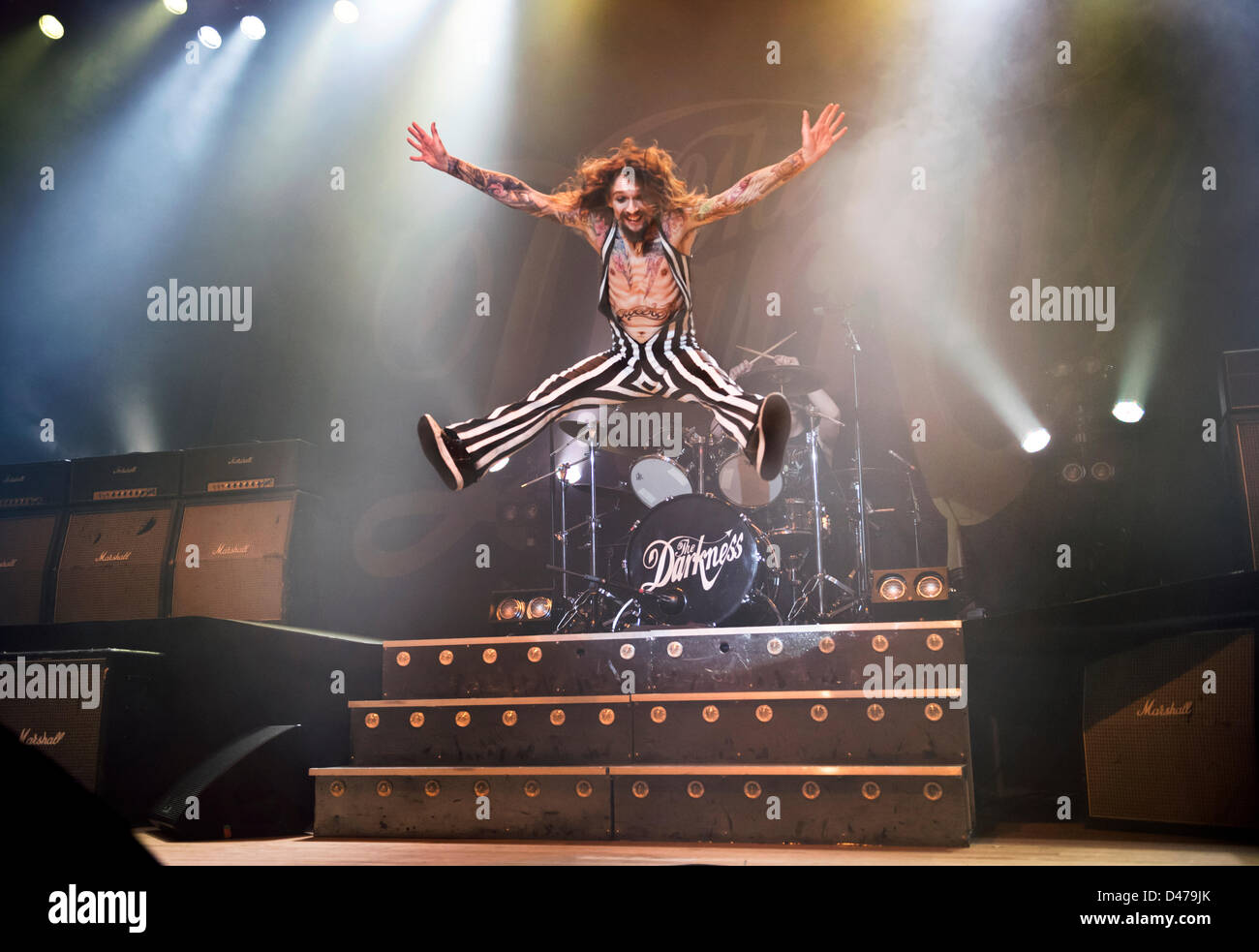 Wolverhampton, UK. 6th March 2013. Rock band The Darkness, with singer Justin Hawkins, at Wolverhampton Civic Hall, - Stock Image