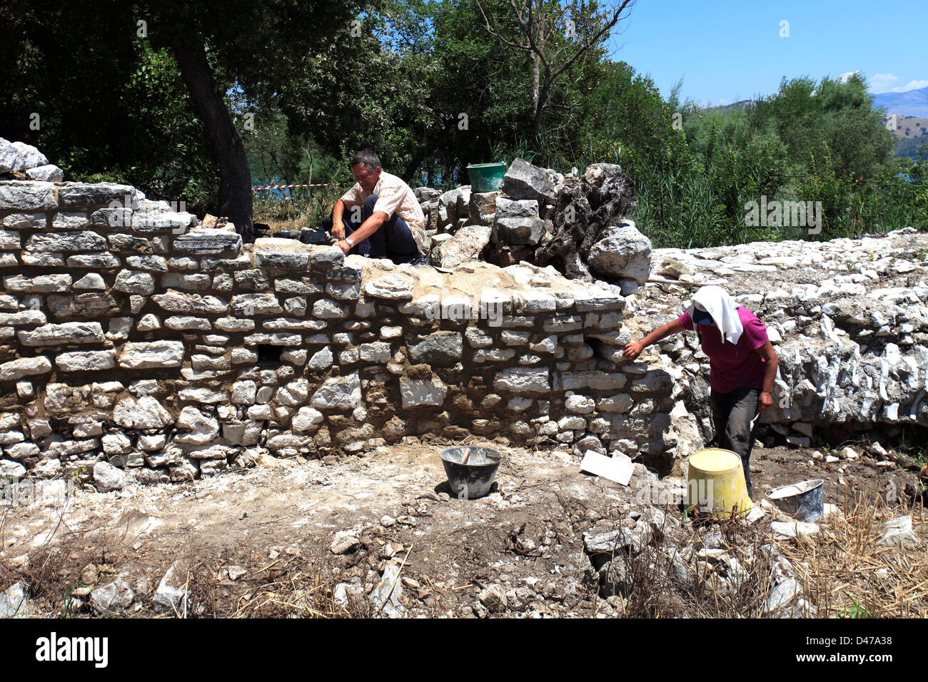 Ruins of ancient Butrint, UNESCO World Heritage Site, Butrint National Park, Saranda District, Southern Albania, - Stock Image