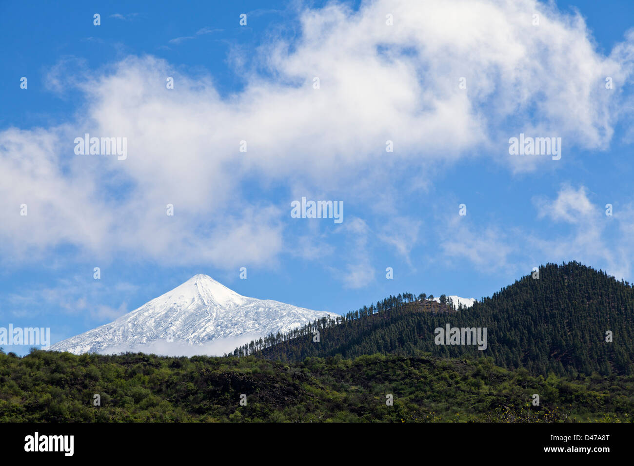 Snow covered mount Teide seen from Santiago del Teide, Tenerife, Canary Islands, Spain, - Stock Image