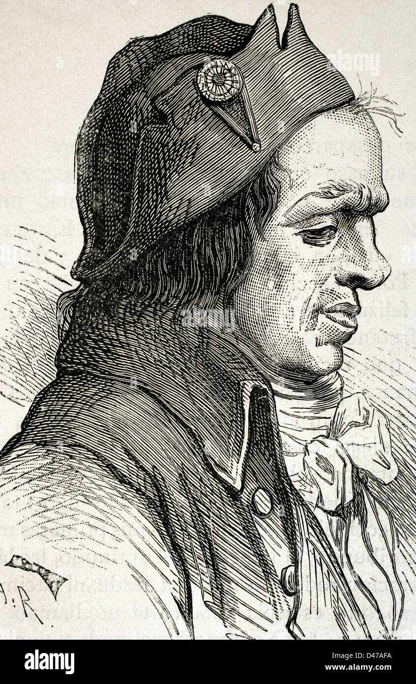 Leonard Bourdon (1754-1807). French politician. Engraving in The Universal History, 1885. - Stock Image