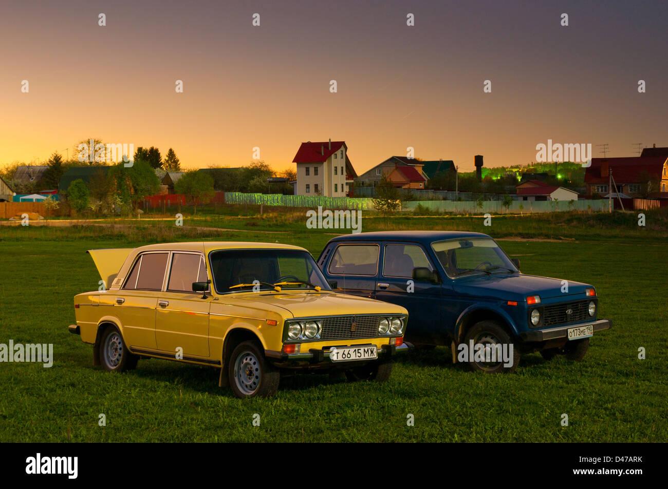 Soviet and Russian cars Lada Niva 4x4 (VAZ-2121) and Lada 1600 (VAZ-2106)