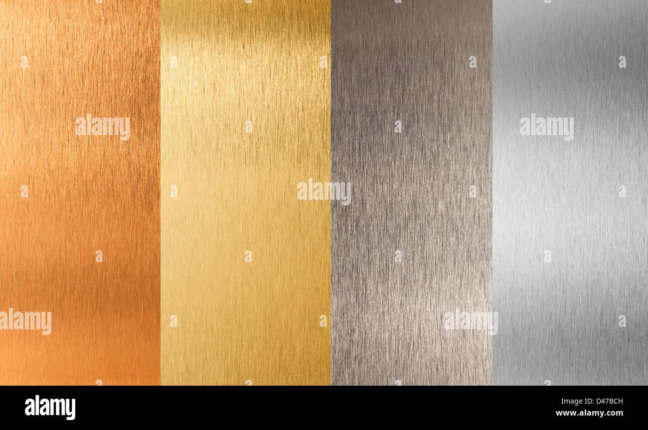 gold silver bronze nonferrous metal set - Stock Image