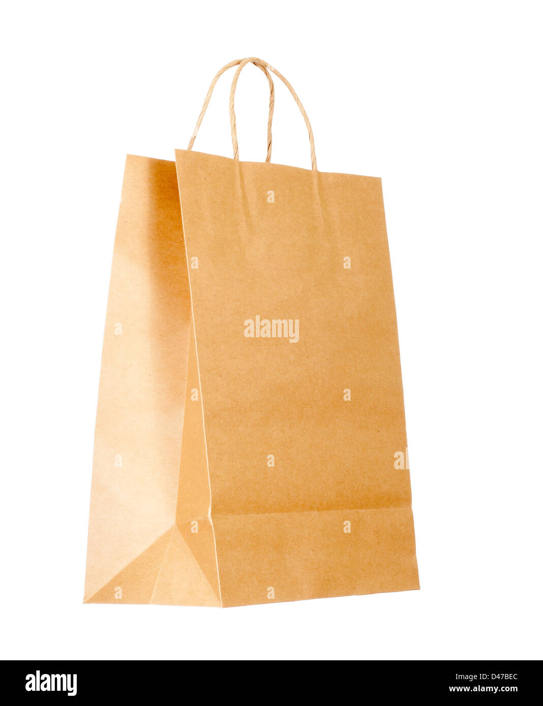 Recyclable paper bag isolated on white background - Stock Image