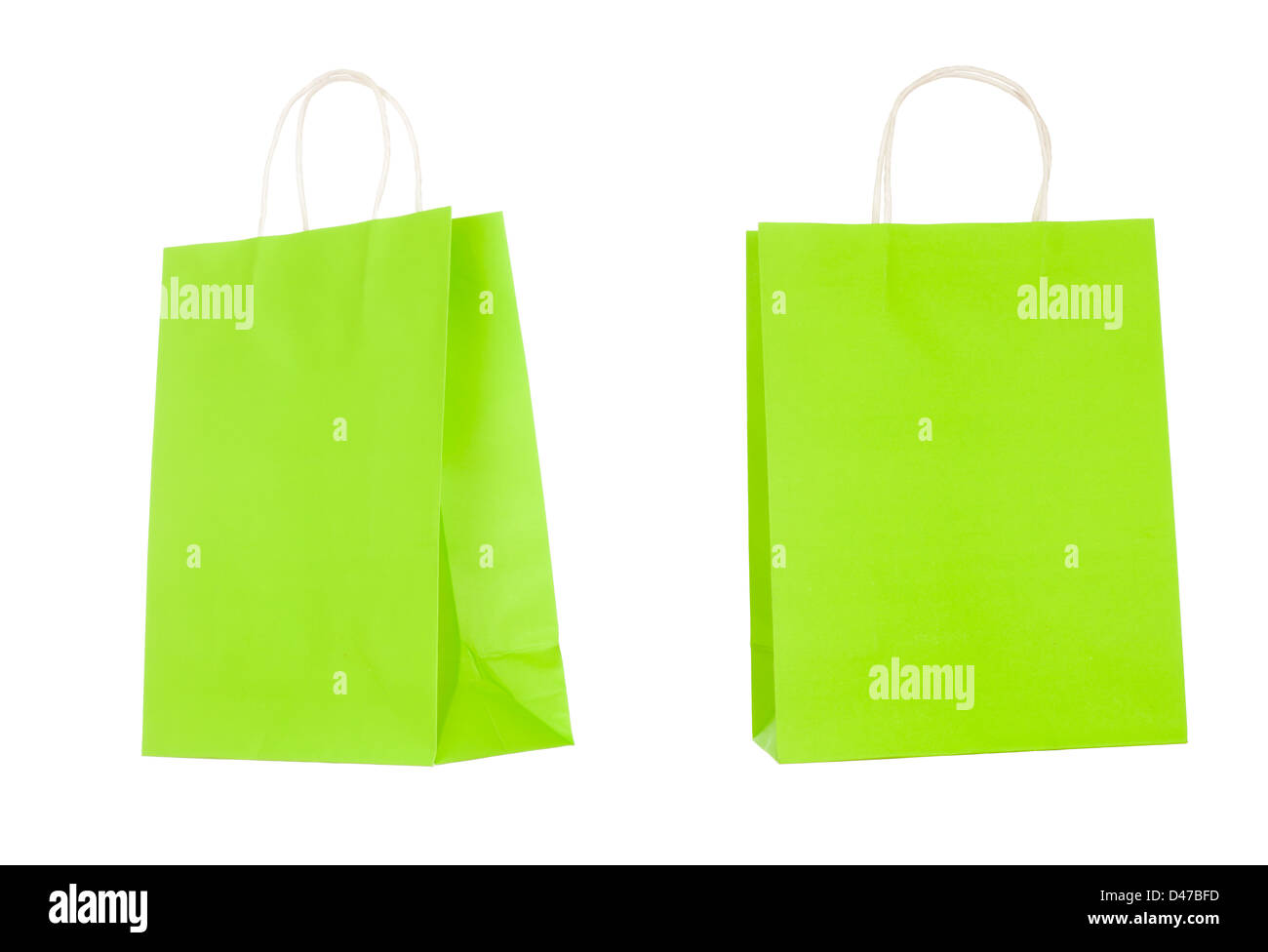 Recyclable paper bags isolated on white background - Stock Image