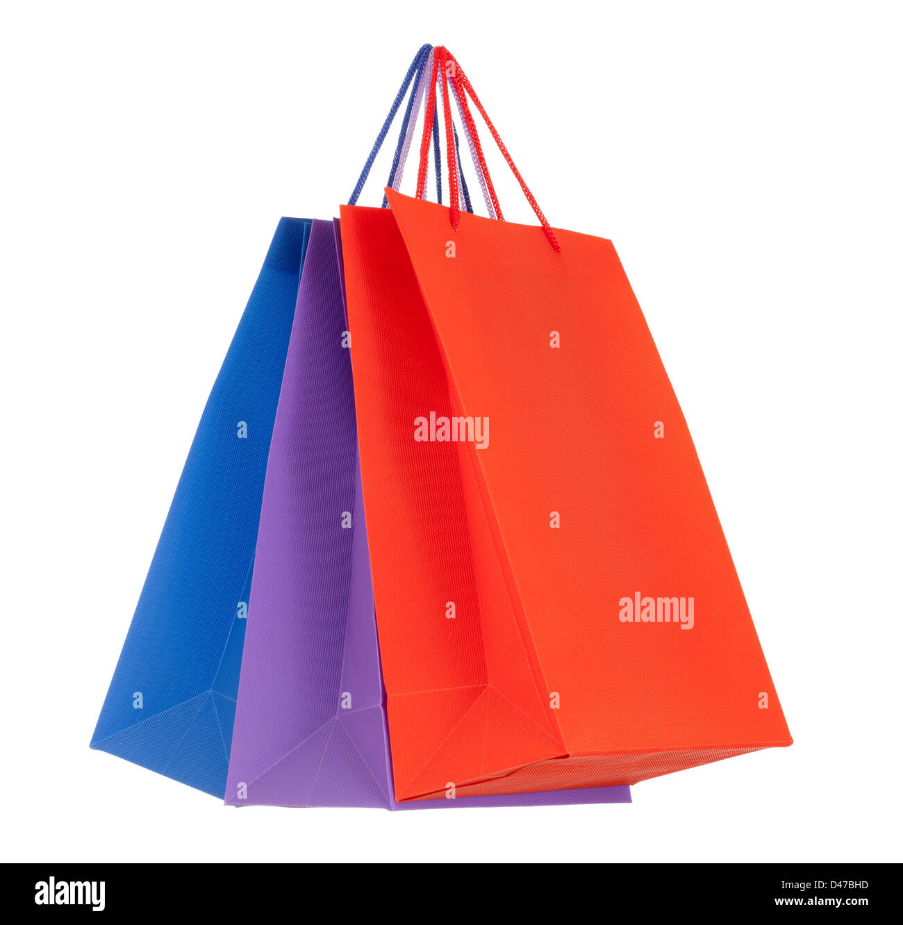 Set of colored paper shopping bags - Stock Image