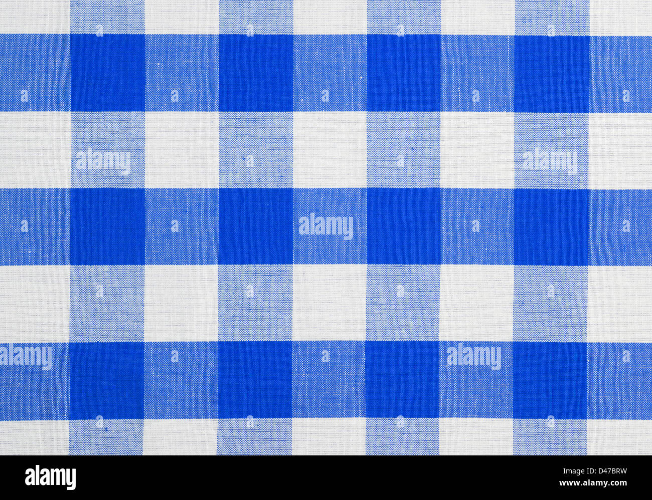 Bon Blue Checked Fabric Tablecloth   Stock Image