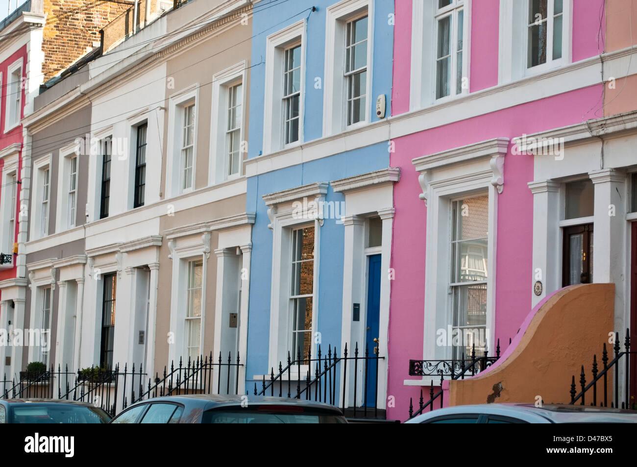 Terraced houses, Notting Hill, London, W11, UK - Stock Image