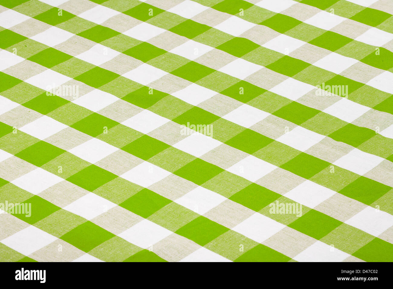 green checkered tablecloth - Stock Image