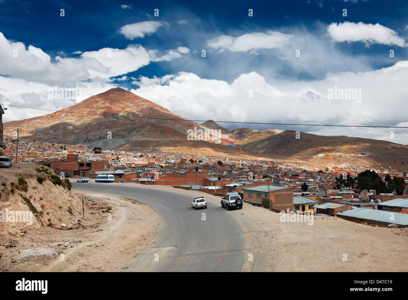silver mountain Cerro Rico and city Potosi, Bolivia, South America - Stock Image