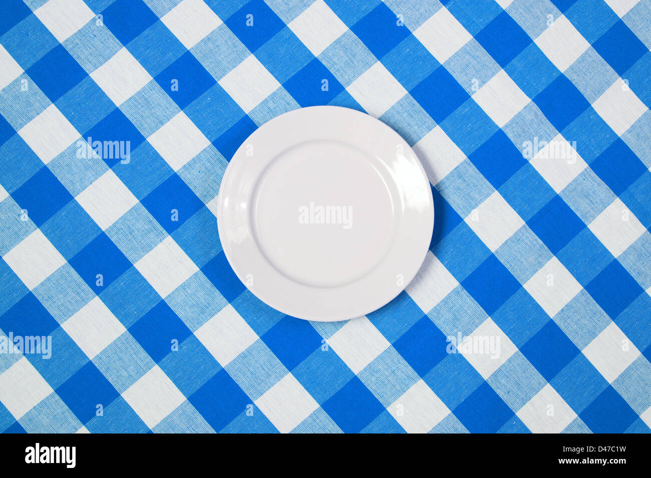 White Round Plate On Blue Checked Tablecloth   Stock Image