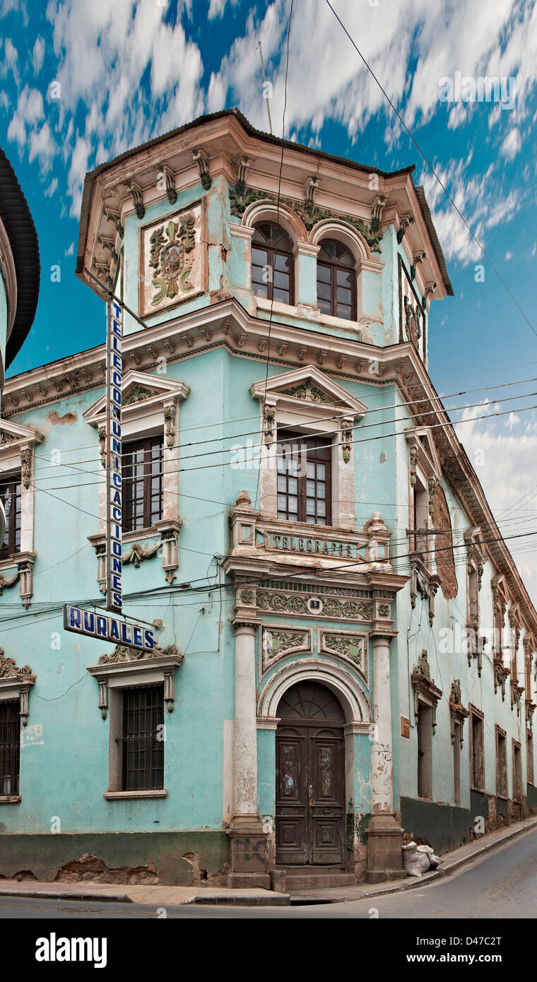 post office, colourful colonial architecture in the streets of Potosi, Bolivia, South America - Stock Image