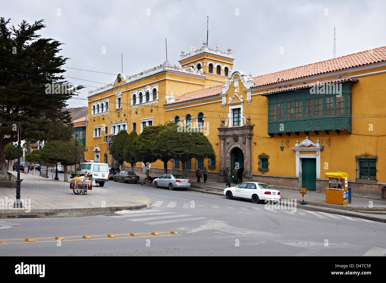 town hall, colourful colonial architecture in the streets of Potosi, Bolivia, South America - Stock Image