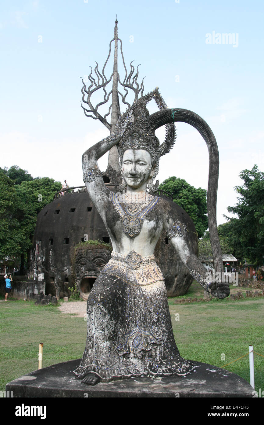 Buddha Park (Xieng Khuan) is a bizarre outdoor collection of huge concrete sculptures of Buddhist and Hindu deities - Stock Image