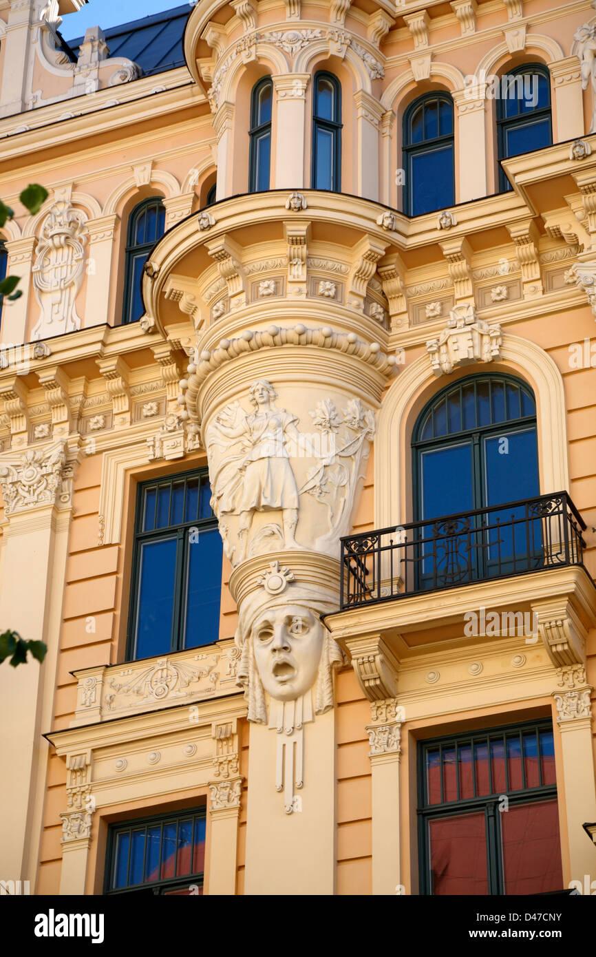 Art Nouveau in Elizabetes iela, Elisabethstrasse, Riga, latvia - Stock Image