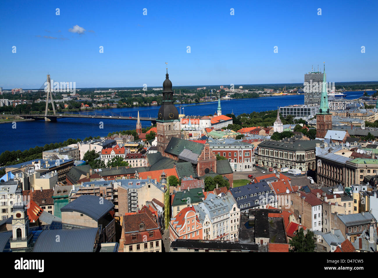View from St. Peter Church to the Old Town of Riga and river Daugava (Duena), Latvia - Stock Image