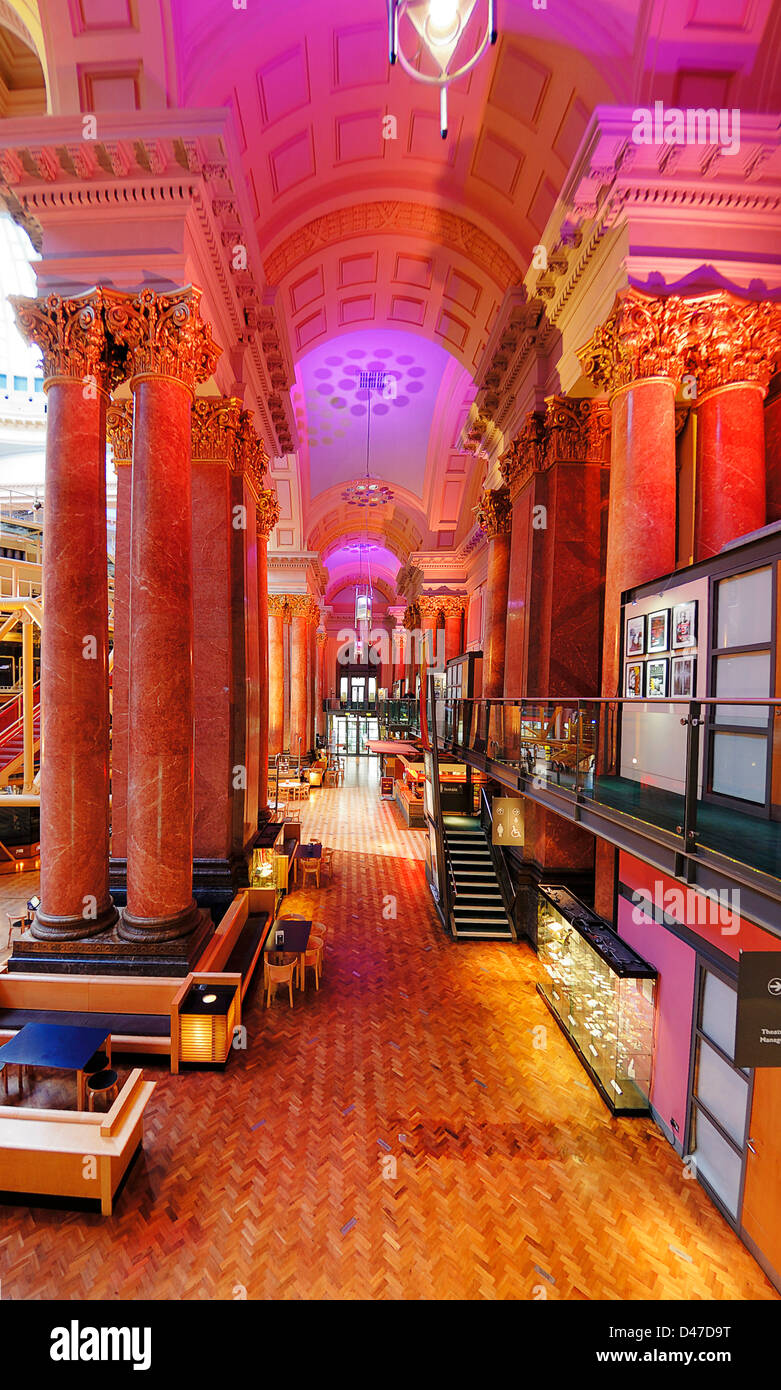Interior of the Royal Exchange Building in Manchester showing the theatre in the centre. - Stock Image
