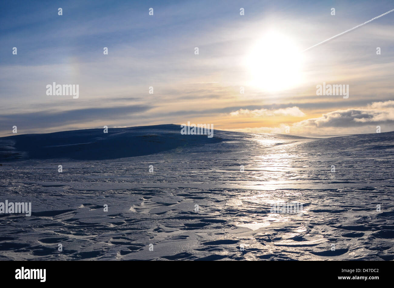 Evening fall upon Hardangervidda with a Storm approaching from the West - Stock Image