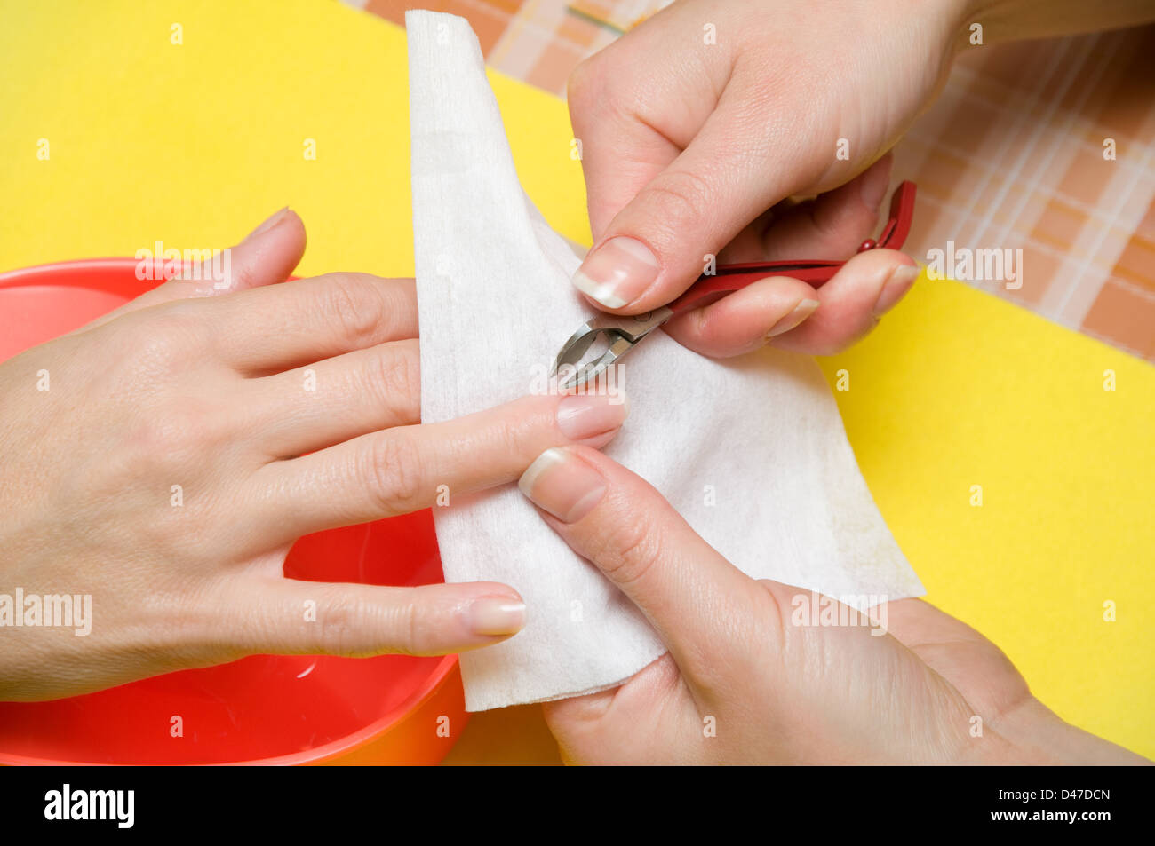 Procedure of manicure, is photographed close-up . - Stock Image