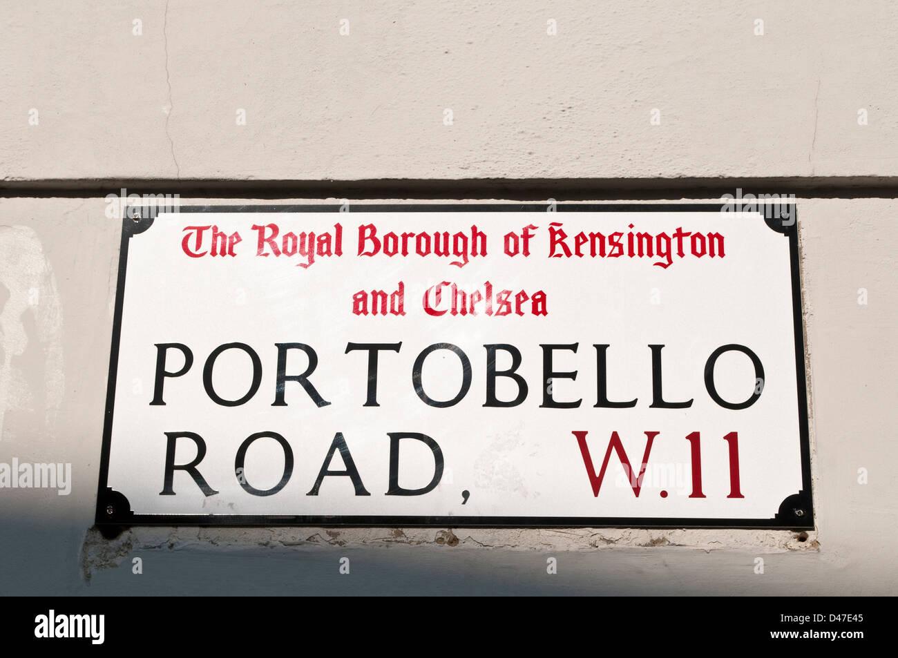 Portobello Road street plaque, Notting Hill, London, W11, UK - Stock Image