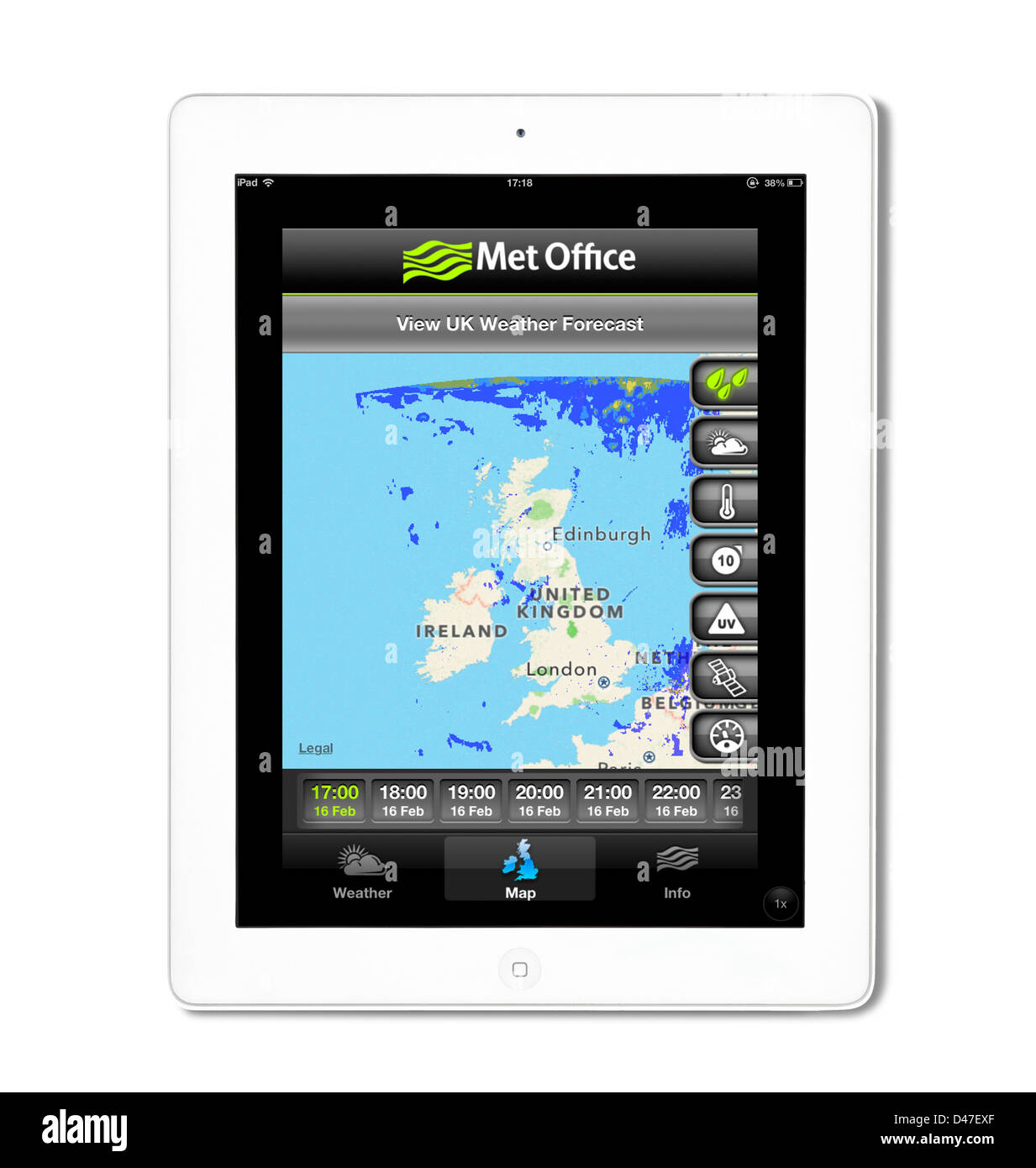 The UK Met Office weather app viewed on a 4th generation Apple iPad tablet computer, UK - Stock Image