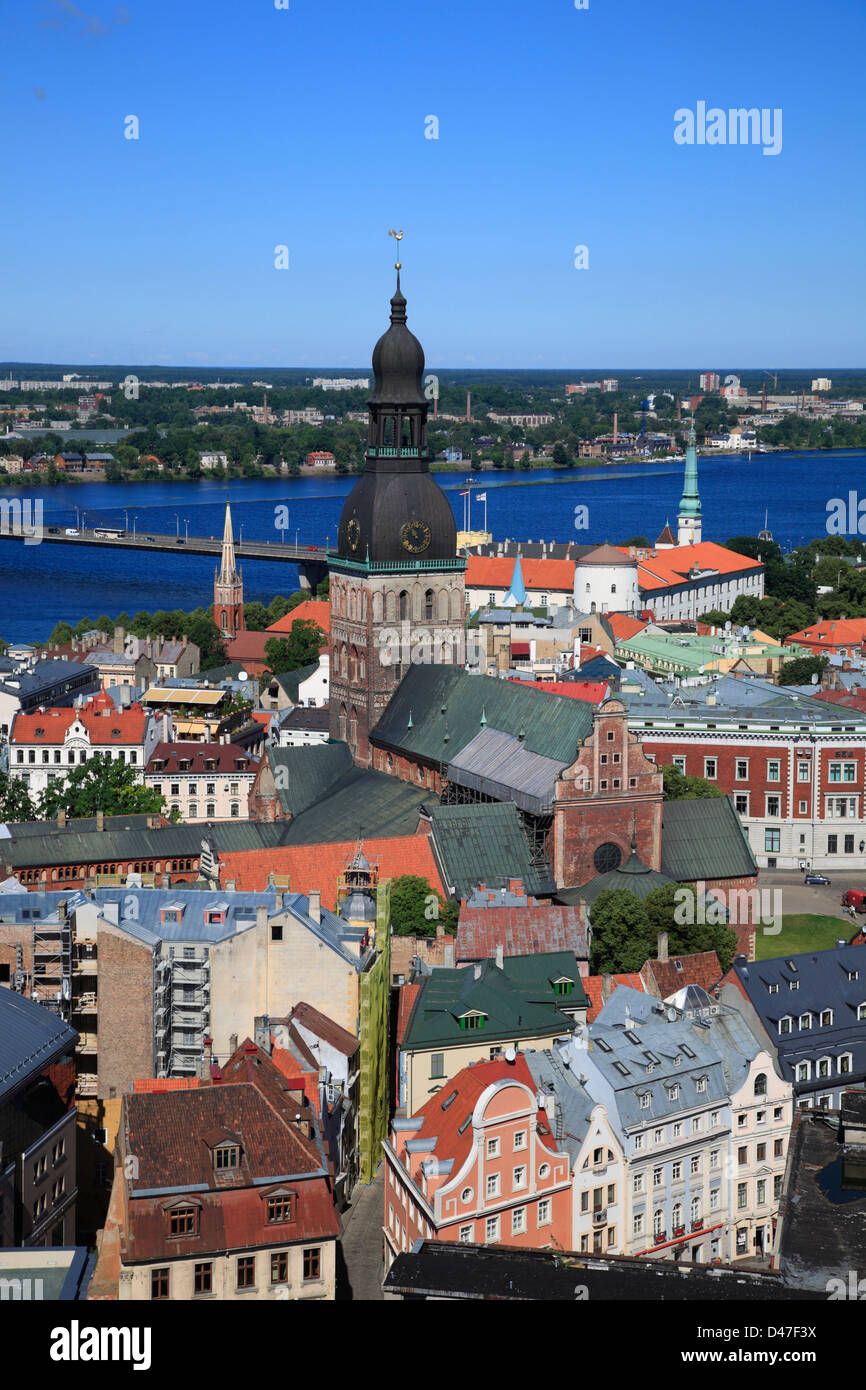 View from St Peter Church to Old town of Riga and river Daugava - Stock Image
