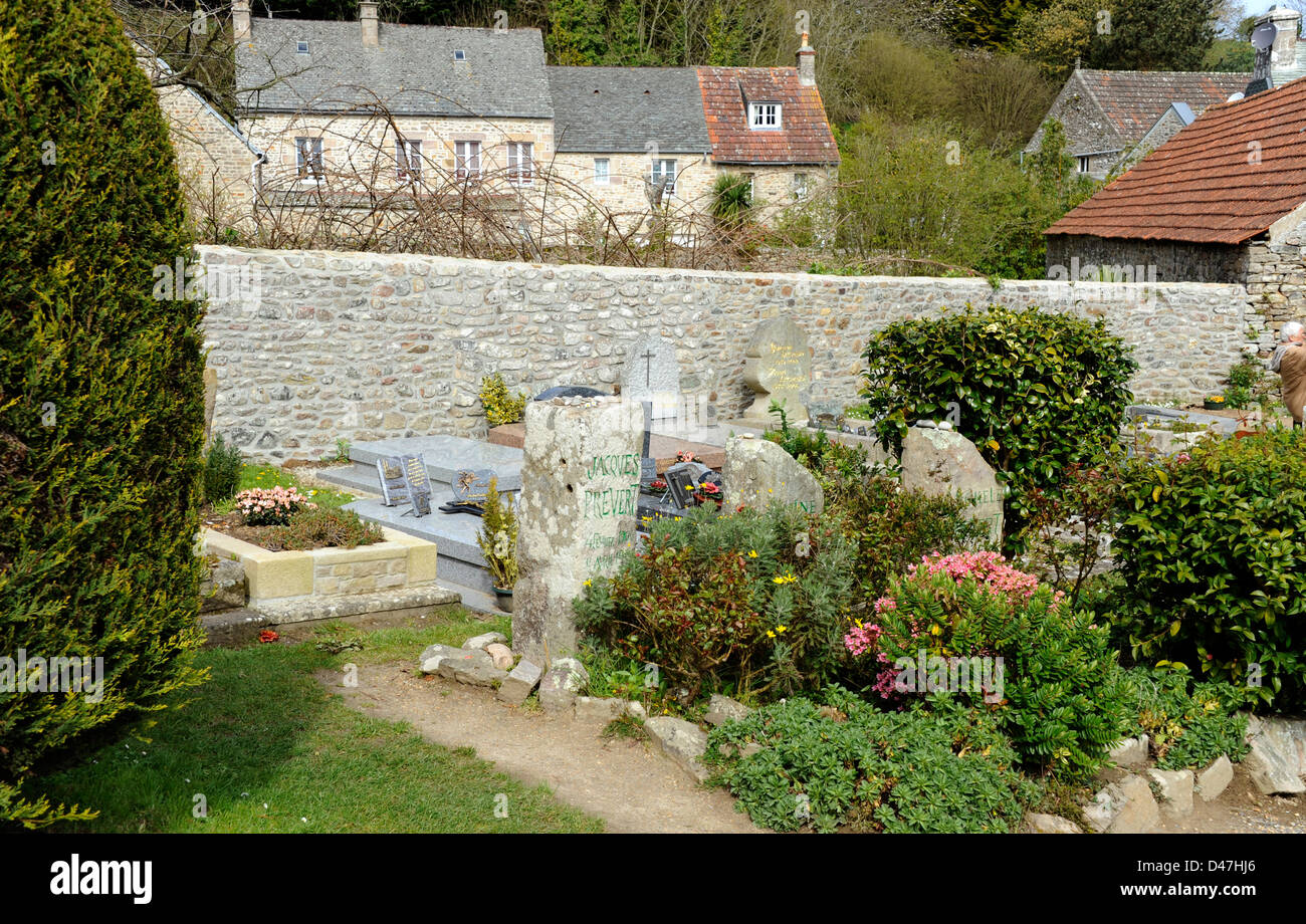 Jacques Prevert grave,poet,Omonville-la-Petite,Manche,Basse-Normandie,Cotentin,France - Stock Image