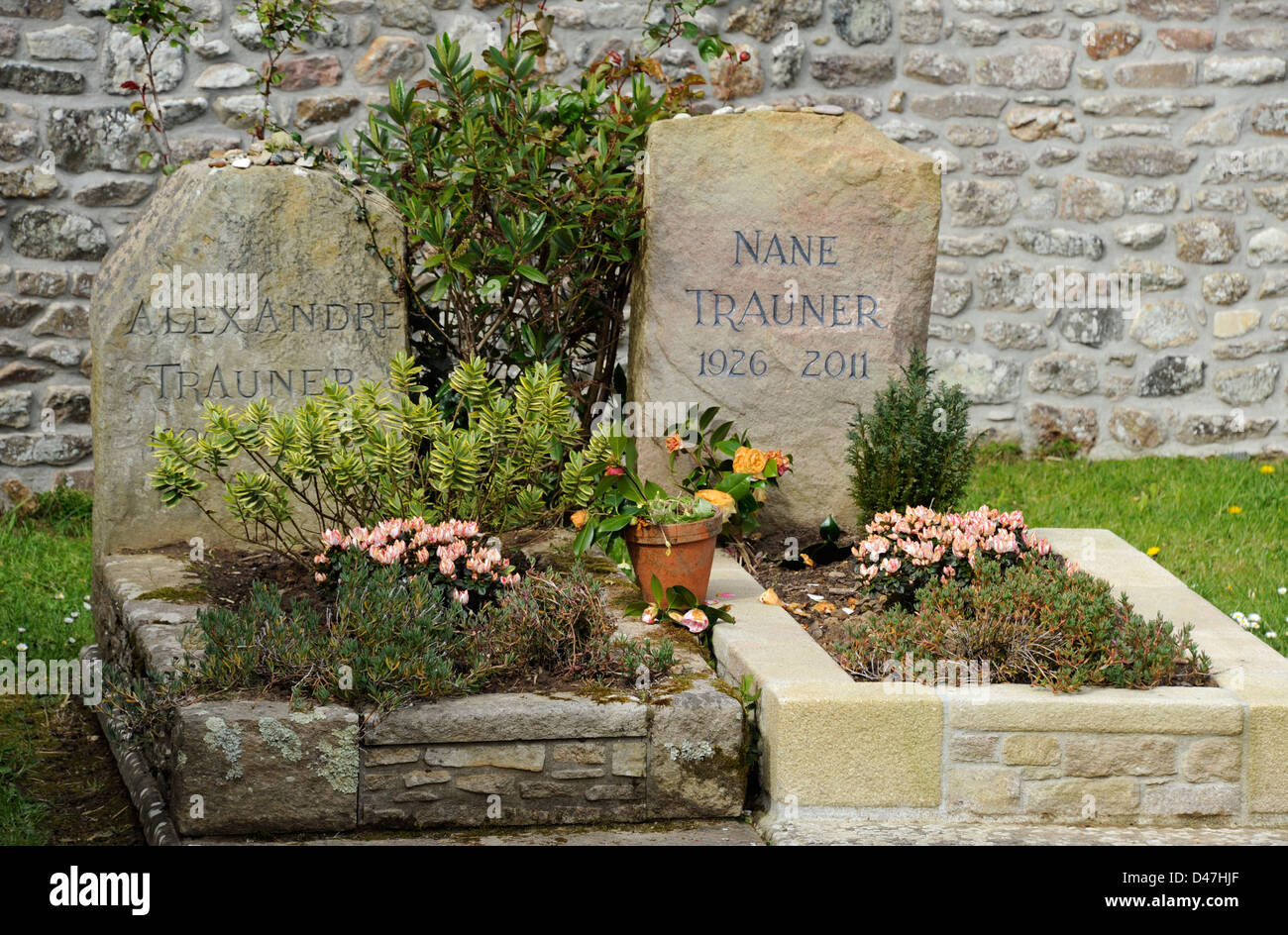 Jacques Prevert,poet and Alexandre Trauner movie decorator,grave,Omonville-la-Petite,Manche,Basse-Normandie,Cotentin,France - Stock Image