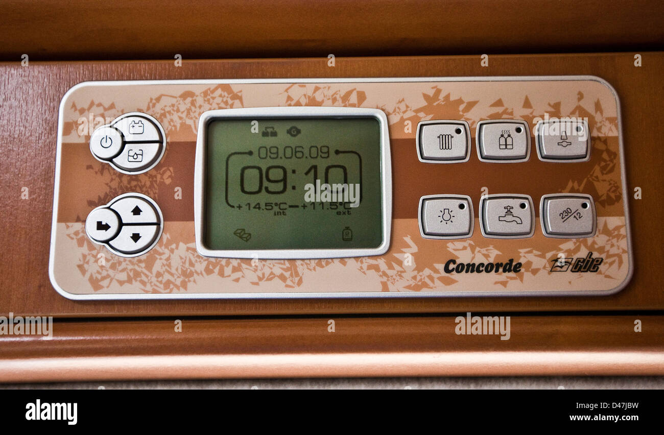 Control panel with digital display in the Concorde luxury motorhome - Stock Image