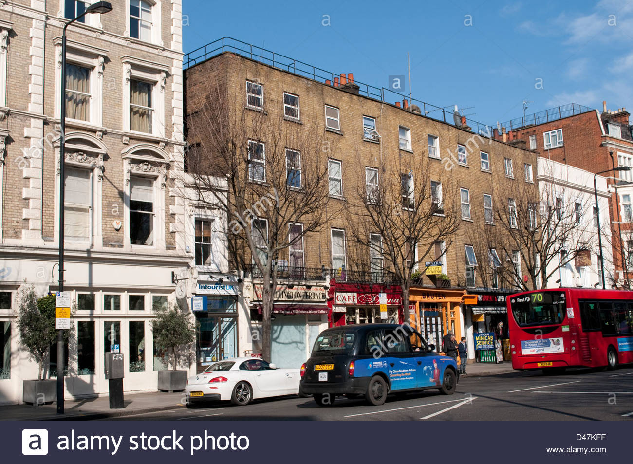 Bayswater Road, Notting Hill Gate, Kensington, London, W8, UK - Stock Image