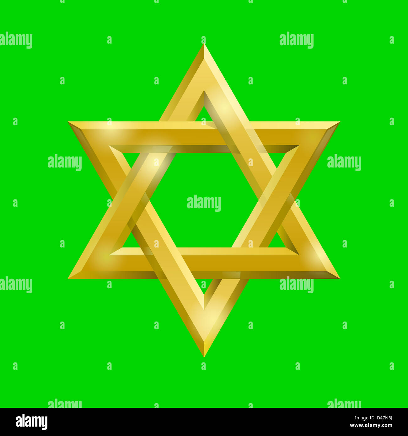 Golden David star on the  green screen, removable chroma key  background - Stock Image