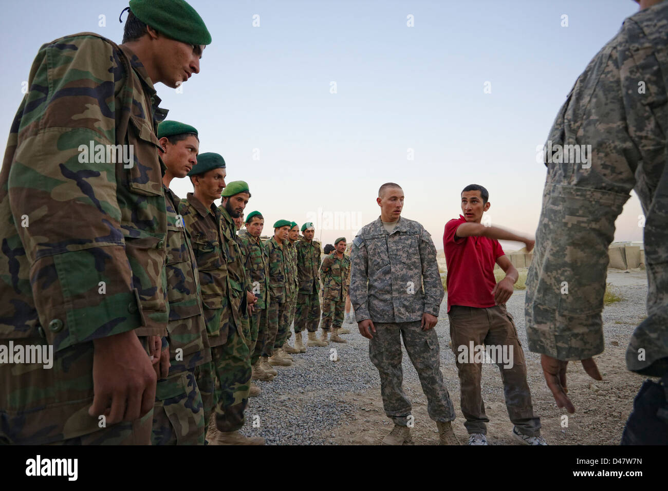 Kandahar, Afghanistan - September 24, 2010:  ANA Soldiers line up to receive training from US Soldiers. - Stock Image