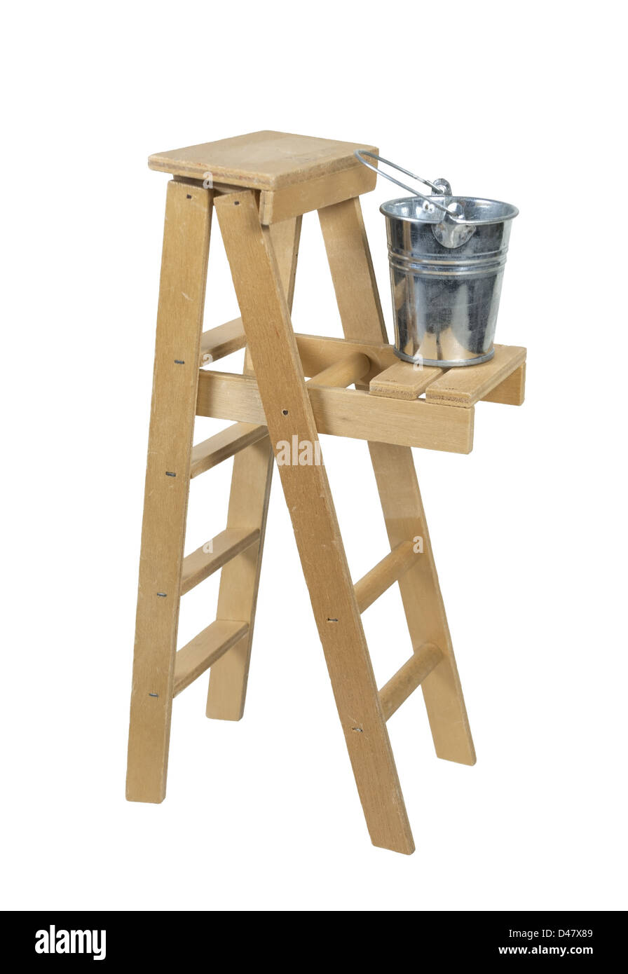 Bucket on a Ladder used for moving up or reaching higher goals - path included - Stock Image