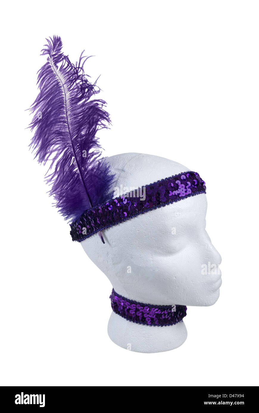 Purple sequin choker and headband with feather - path included - Stock Image