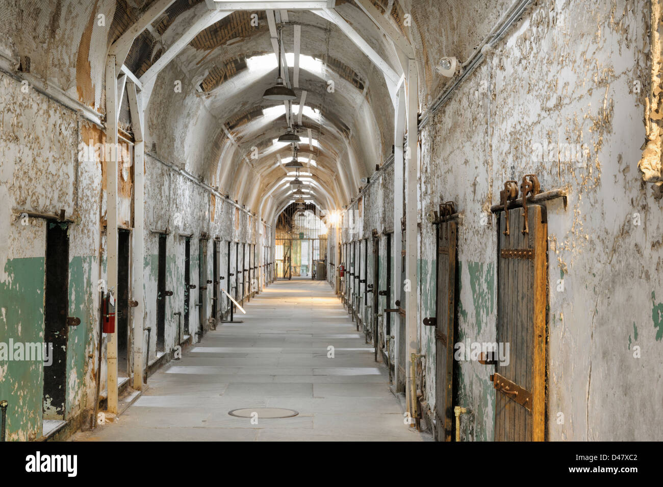Prison cellblock, empty and old, Eastern State Penitentiary, Philadelphia, PA, USA. - Stock Image