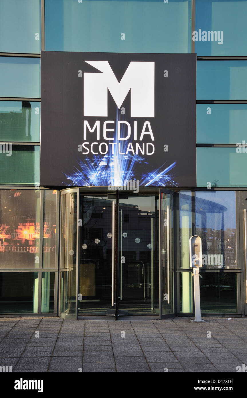The entrance to Media Scotland building in Glasgow, UK. - Stock Image