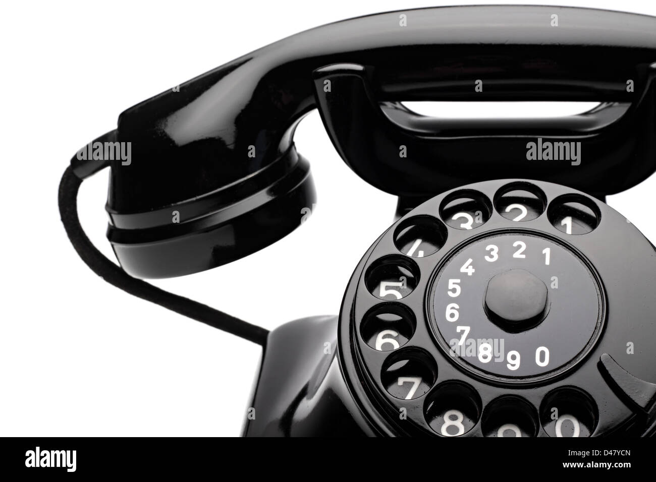 an old telephon with rotary dial - Stock Image