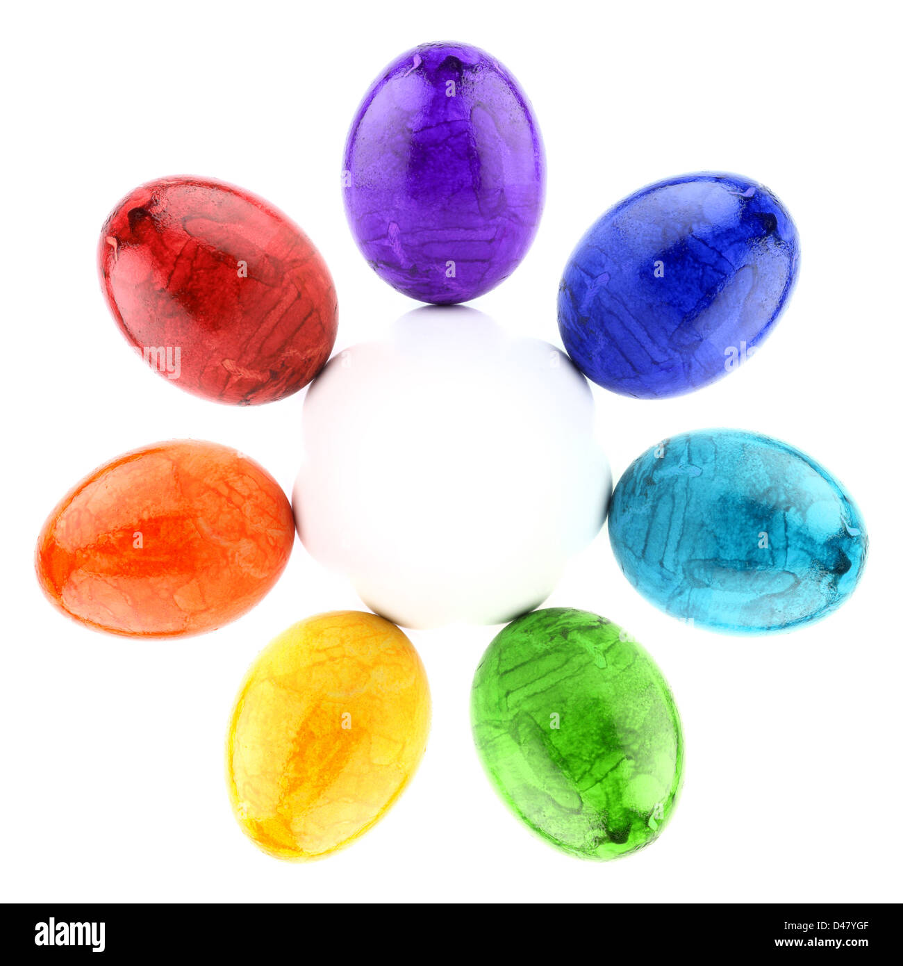 circle of painted easter eggs in rainbow colors. Stock Photo
