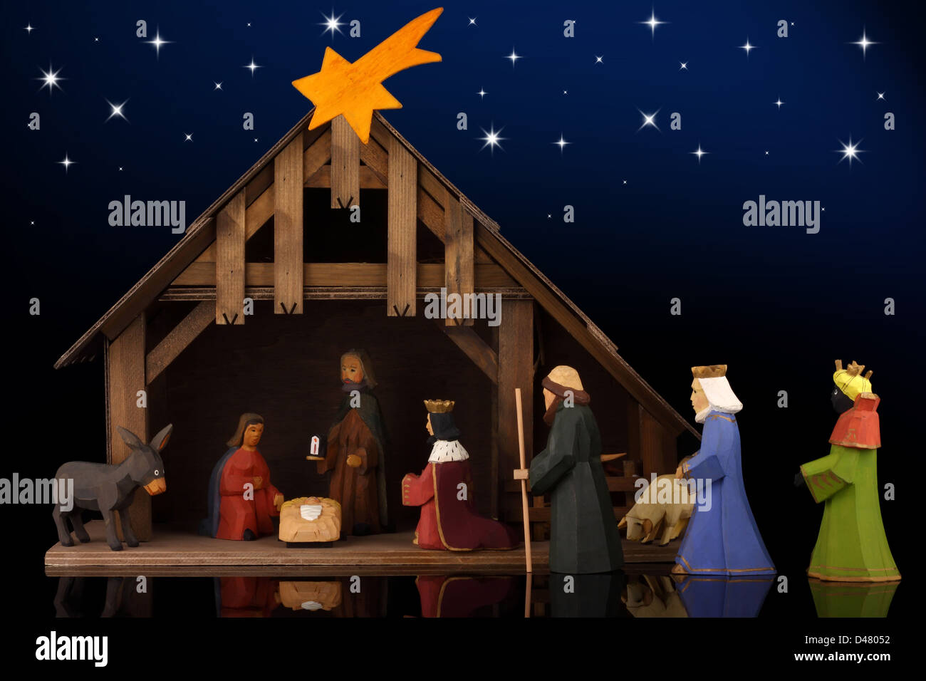 The christmas tale with a nativity scene. Stock Photo