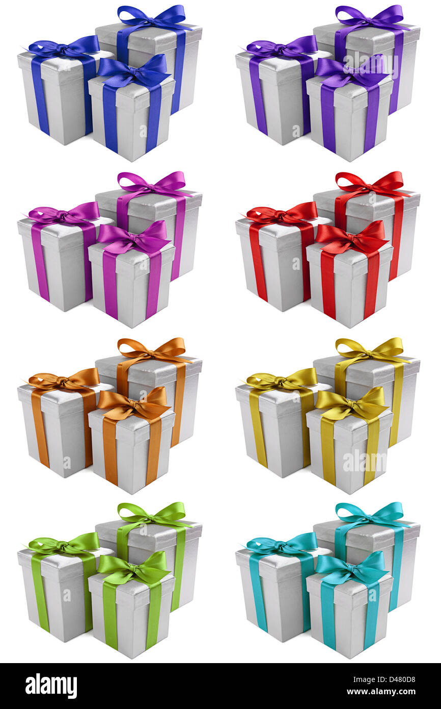 silver presents different ribbon colors stock photos silver