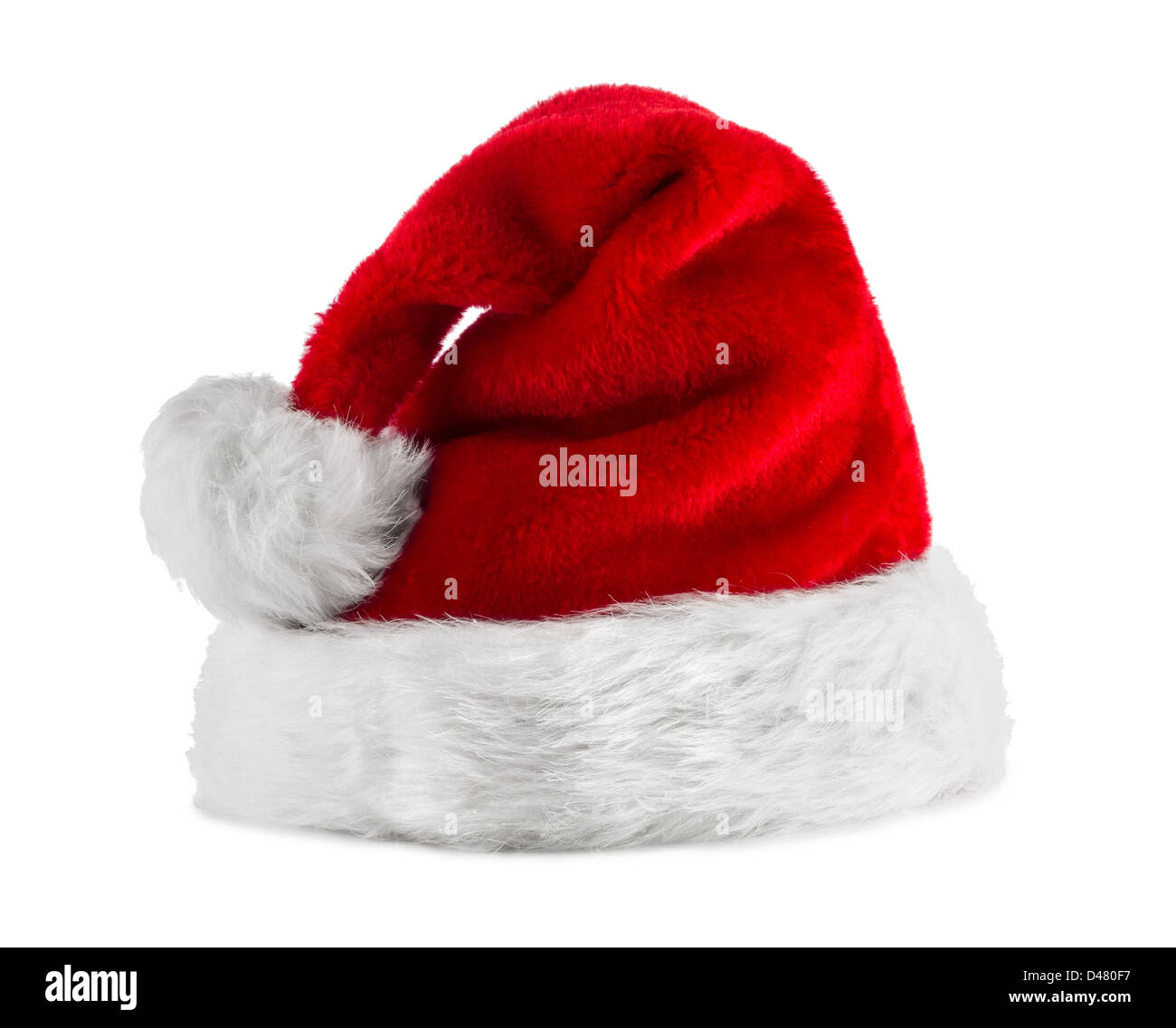 red white santa hat in front of white background Stock Photo