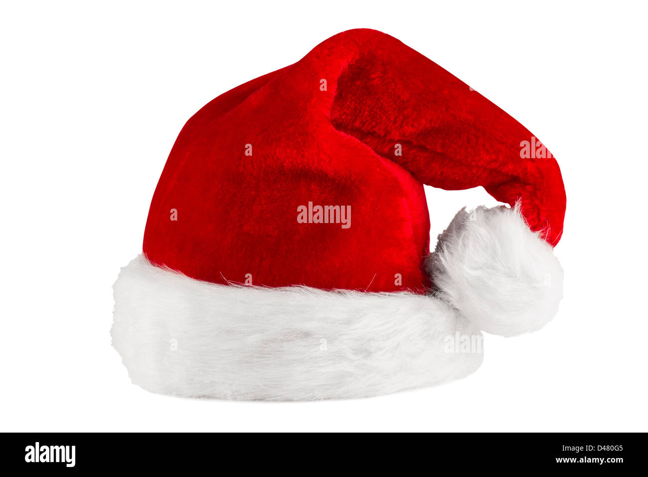 red white santa hat in front of white background - Stock Image