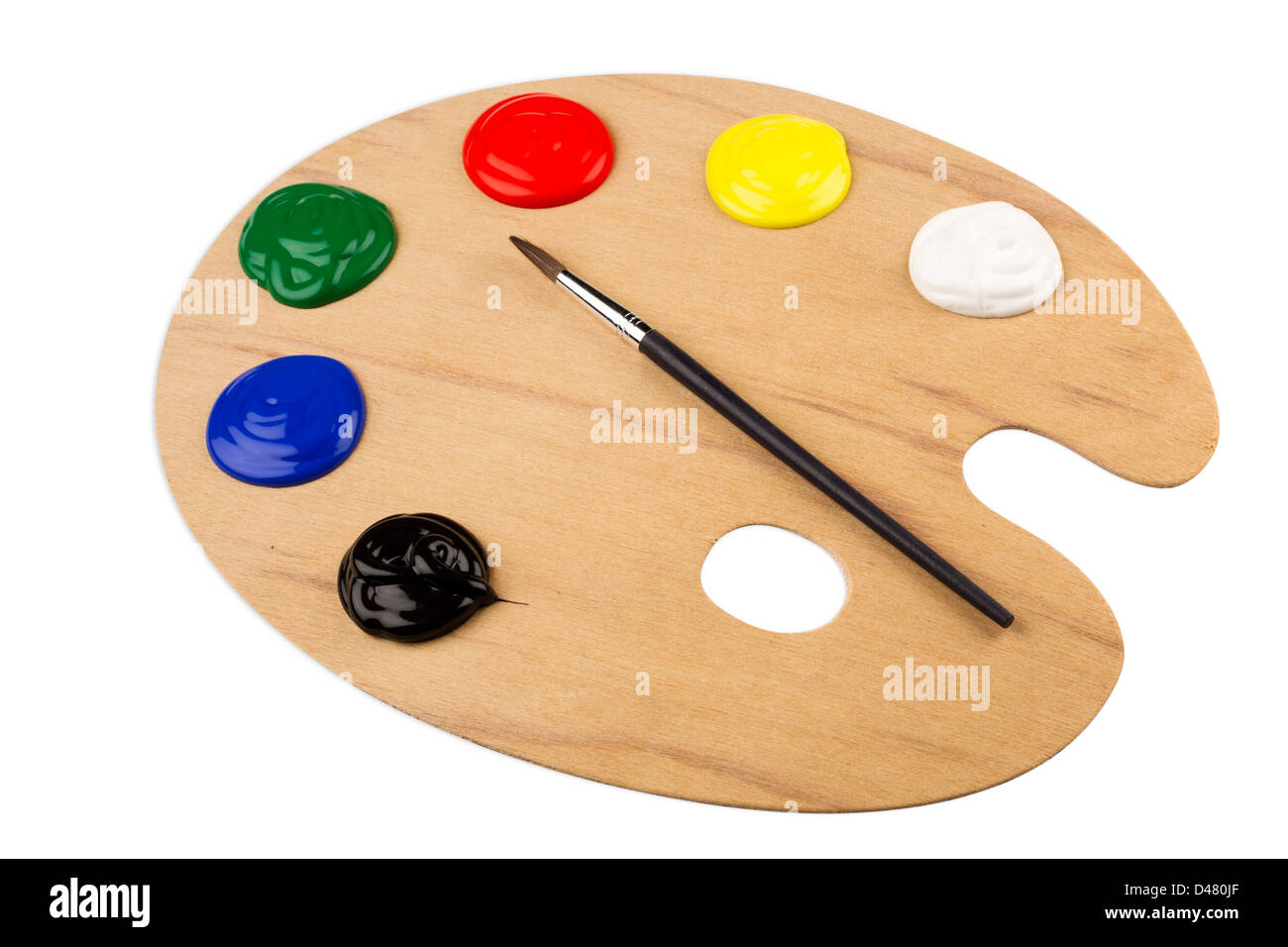 color palette with paint brush - Stock Image