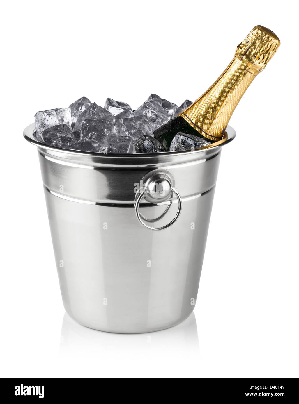 bottle of champagne in cooler with ice cubes - Stock Image