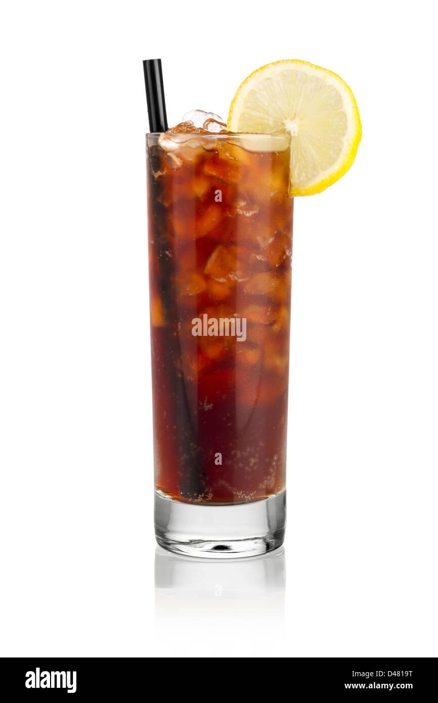 iced soda lemon in front of white background - Stock Image