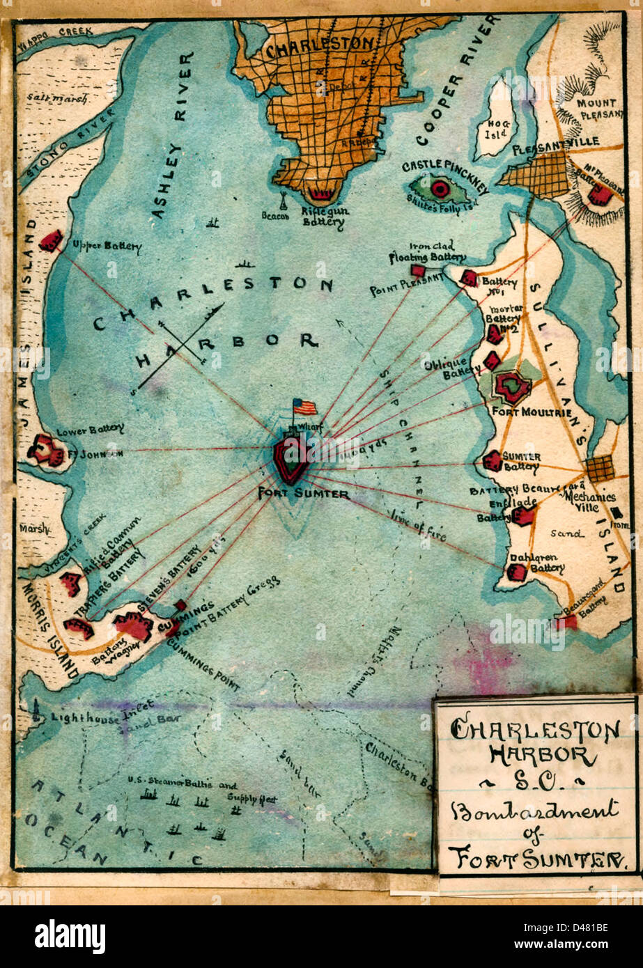 MAP Charleston Harbor South Carolina Bombardment of Fort Sumter