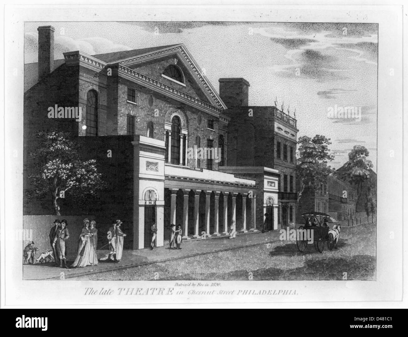 The late theatre in Chestnut Street, Philadelphia. Destroyed by Fire in 1820 - Stock Image