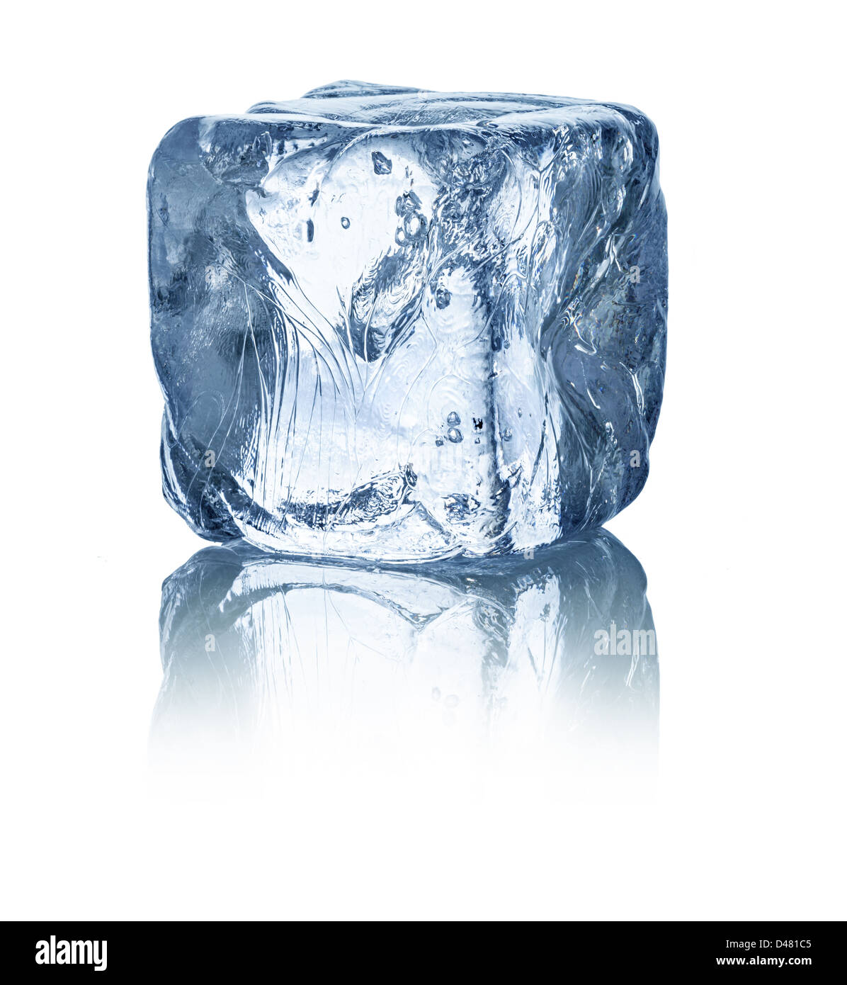 ice cube in front of white background - Stock Image