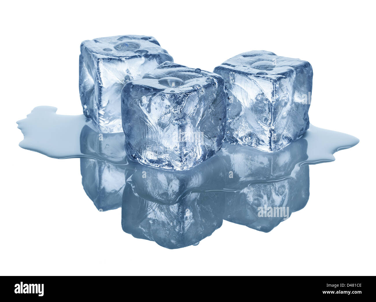 ice cubes in front of white background - Stock Image